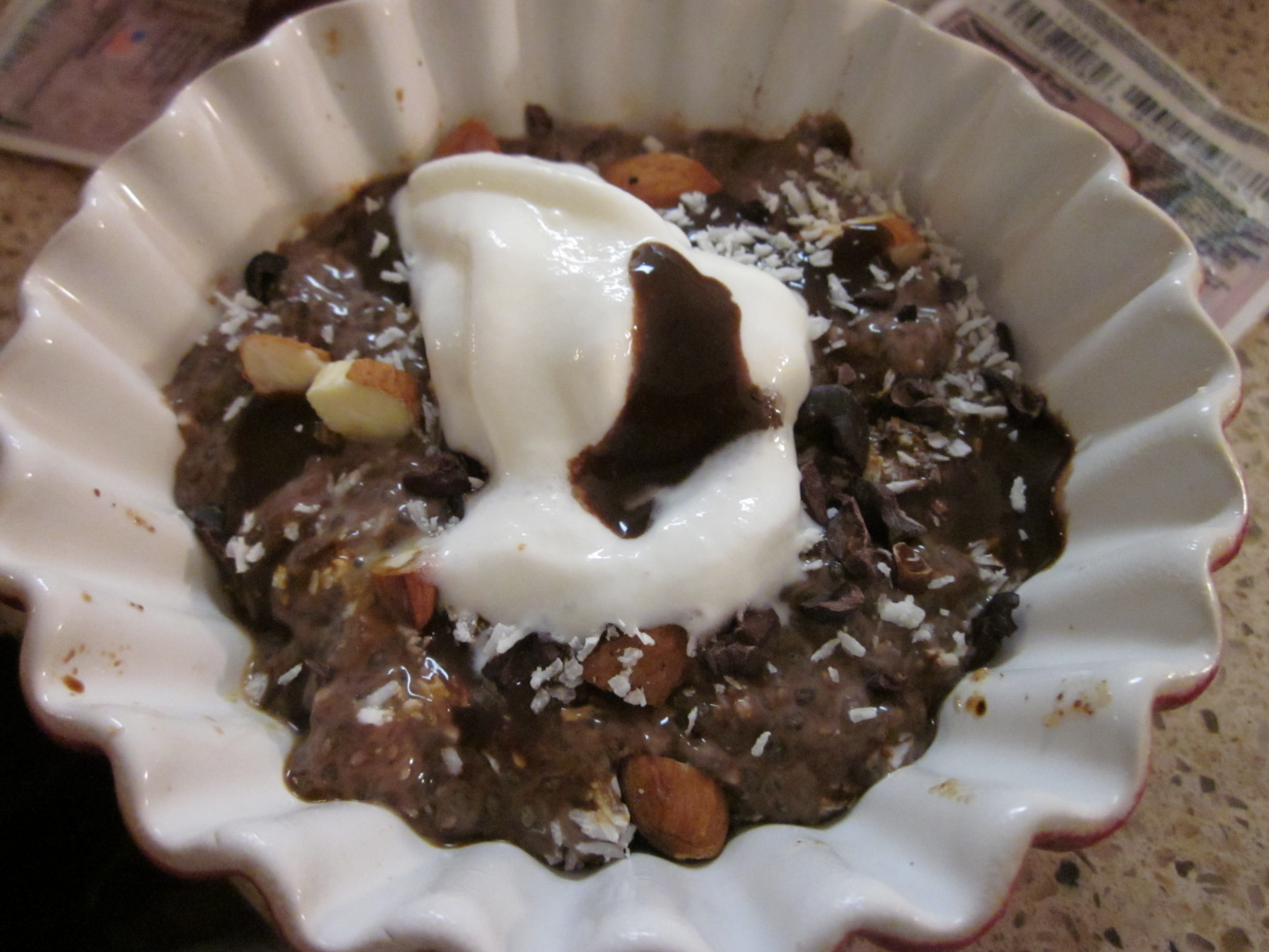... Pudding, with coconut milk, almonds, coconut flakes, chocolate